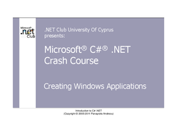 C# .NET Crash Course