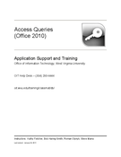 Access Queries (Office 2010)