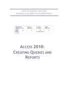 Creating Queries and Reports (Access)