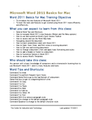 Microsoft Word 2011 Basics for Mac