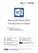 Microsoft Word 2013 Introduction to Styles
