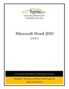Microsoft Word 2010 Level 1