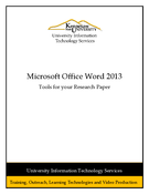 Word 2013: Tools for your Research Paper