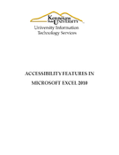 Accessibility Features In Microsoft Excel 2010