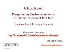 Eclipse: Installing Eclipse and Java JDK