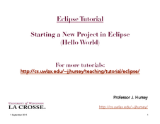 Eclipse: Starting a New Project (Hello world)
