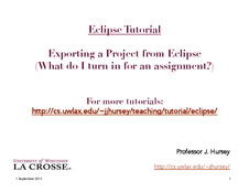 Eclipse: Exporting a Project