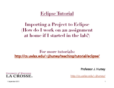 Eclipse: Importing a Project