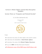 Block Ciphers and the Data Encryption